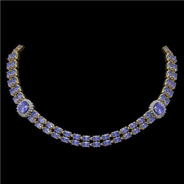 37.96 ctw Tanzanite & Diamond Necklace 14K Yellow Gold - REF-527F3M