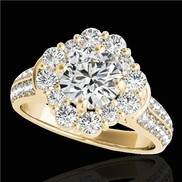 2.81 ctw Certified Diamond Solitaire Halo Ring 10k Yellow Gold - REF-307G2W