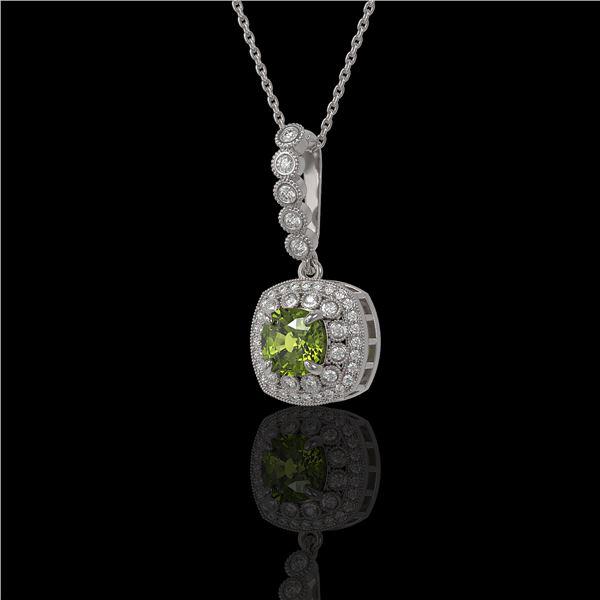 2.25 ctw Tourmaline & Diamond Victorian Necklace 14K White Gold - REF-81X3A