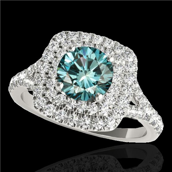 1.6 ctw SI Certified Fancy Blue Diamond Solitaire Halo Ring 10k White Gold - REF-135W2H