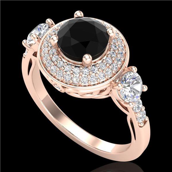 2.05 ctw Fancy Black Diamond Art Deco 3 Stone Ring 18k Rose Gold - REF-180H2R