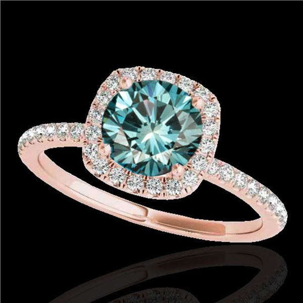 1.5 ctw SI Certified Fancy Blue Diamond Solitaire Halo Ring 10k Rose Gold - REF-135X2A