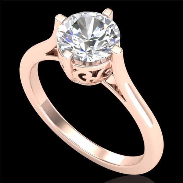 1.25 ctw VS/SI Diamond Solitaire Art Deco Ring 18k Rose Gold - REF-490K9Y