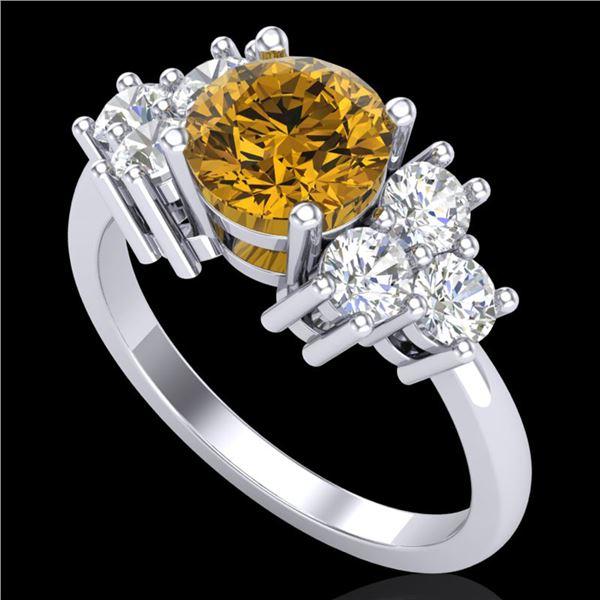 1.51 ctw Intense Fancy Yellow Diamond Art Deco Ring 18k White Gold - REF-263H6R