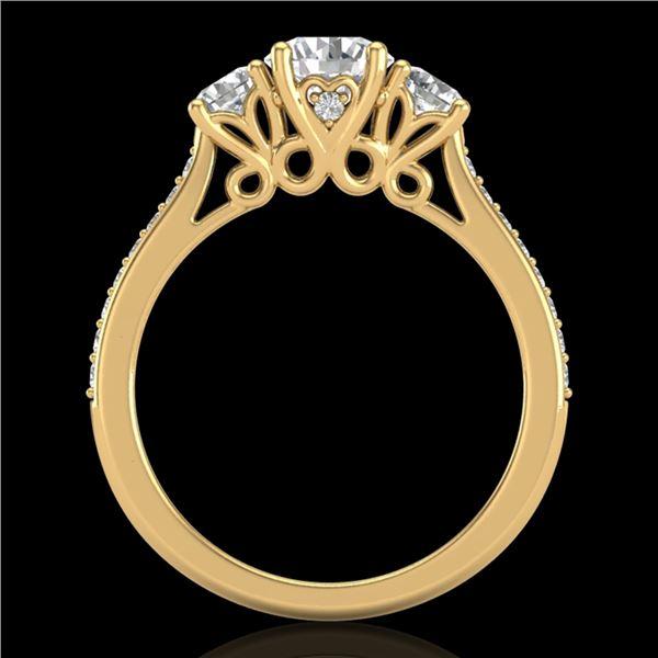 1.67 ctw VS/SI Diamond Solitaire Art Deco 3 Stone Ring 18k Yellow Gold - REF-281R8K