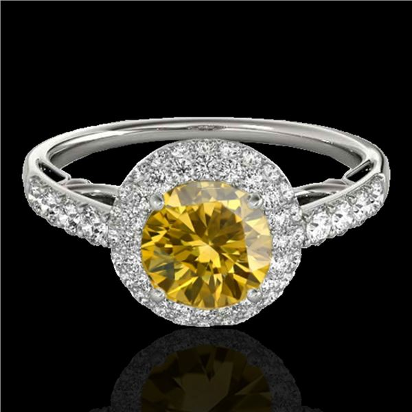 1.65 ctw Certified SI/I Fancy Intense Yellow Diamond Ring 10k White Gold - REF-218W2H