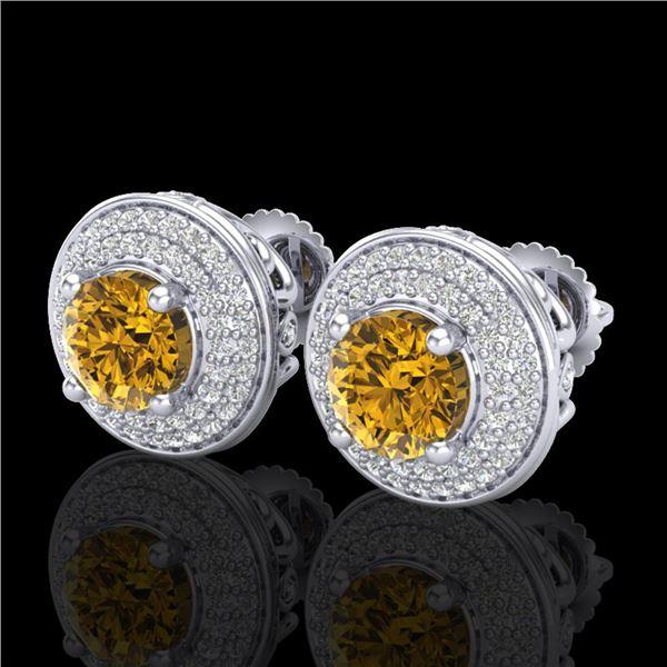 2.35 ctw Intense Fancy Yellow Diamond Art Deco Earrings 18k White Gold - REF-327W3H