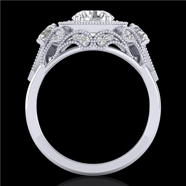 2.11 ctw VS/SI Diamond Solitaire Art Deco 3 Stone Ring 18k White Gold - REF-490M9G