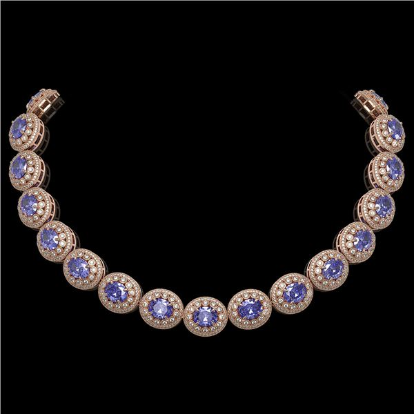 114.35 ctw Tanzanite & Diamond Victorian Necklace 14K Rose Gold - REF-3400W2H