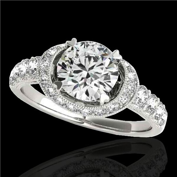 1.75 ctw Certified Diamond Solitaire Halo Ring 10k White Gold - REF-204Y5X