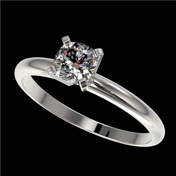 0.50 ctw Certified VS/SI Quality Cushion Cut Diamond Ring 10k White Gold - REF-60X3A