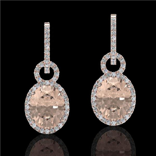 7 ctw Morganite & Micro Pave Halo VS/SI Diamond Earrings 14k Rose Gold - REF-254K5Y