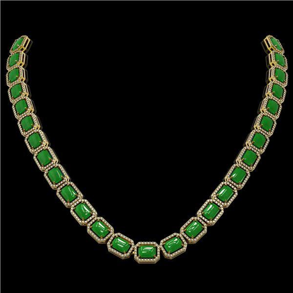 56.69 ctw Jade & Diamond Micro Pave Halo Necklace 10k Yellow Gold - REF-673M8G