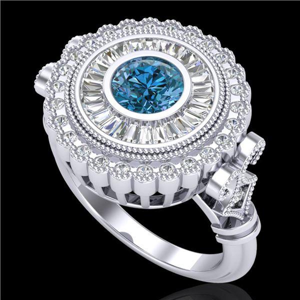 2.03 ctw Fancy Intense Blue Diamond Art Deco Ring 18k White Gold - REF-245A5N