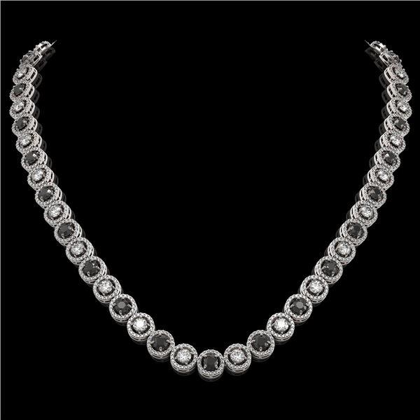 20.35 ctw Black & Diamond Micro Pave Necklace 18K White Gold - REF-1302N5F
