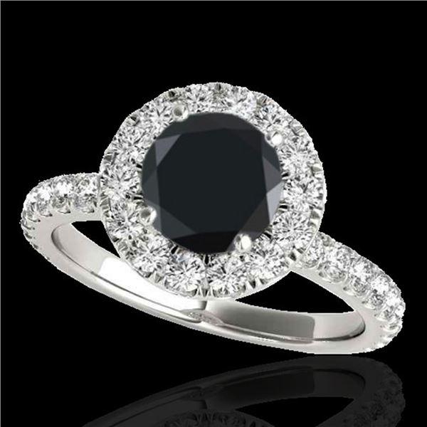 2 ctw Certified VS Black Diamond Solitaire Halo Ring 10k White Gold - REF-65W6H
