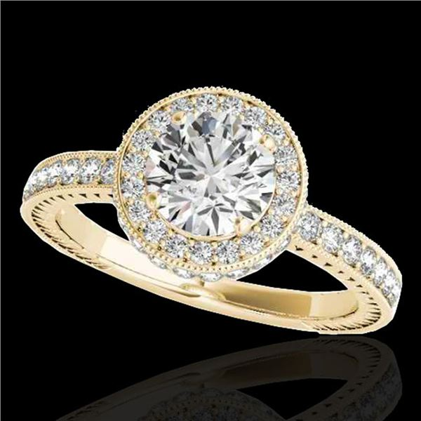 1.51 ctw Certified Diamond Solitaire Halo Ring 10k Yellow Gold - REF-197X8A