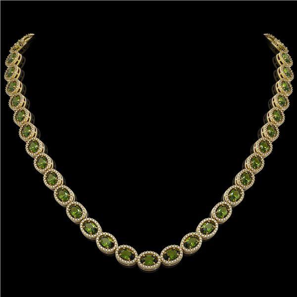 31.1 ctw Tourmaline & Diamond Micro Pave Halo Necklace 10k Yellow Gold - REF-600A2N