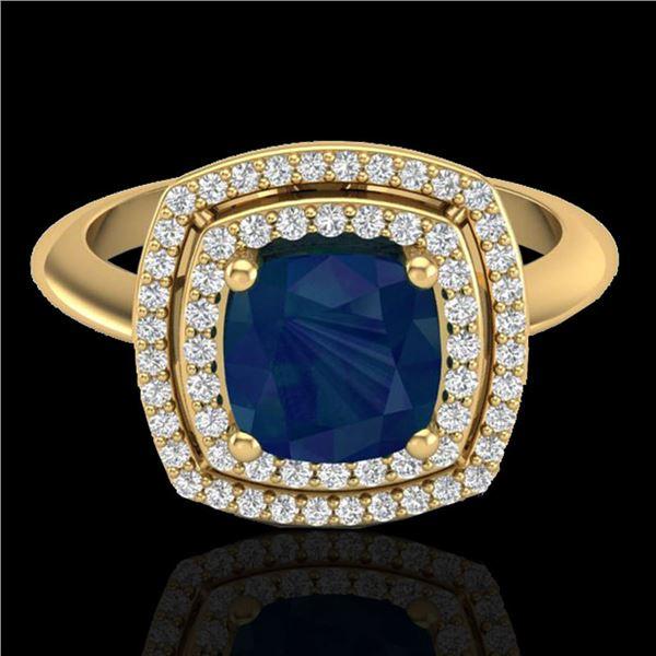 2.52 ctw Sapphire & Micro VS/SI Diamond Pave Ring 18k Yellow Gold - REF-77X3A