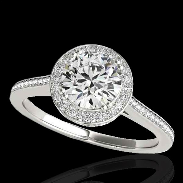 1.55 ctw Certified Diamond Solitaire Halo Ring 10k White Gold - REF-204N5F