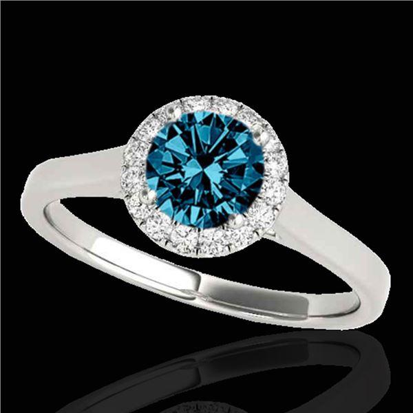 1.11 ctw SI Certified Fancy Blue Diamond Halo Ring 10k White Gold - REF-125X5A