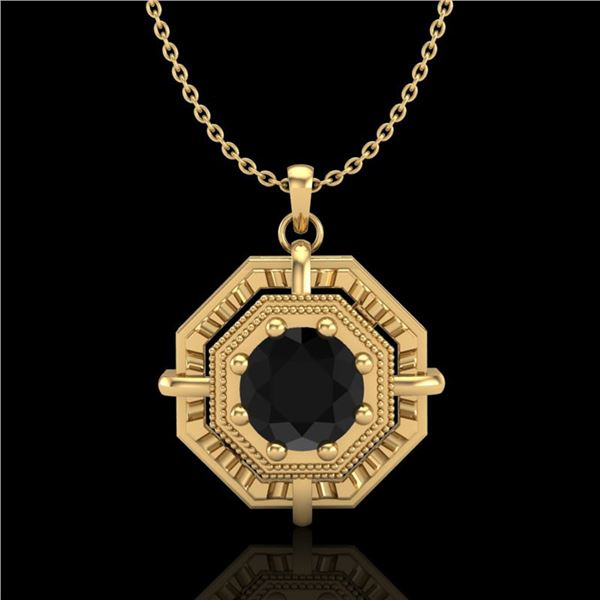 0.75 ctw Fancy Black Diamond Art Deco Stud Necklace 18k Yellow Gold - REF-80R2K