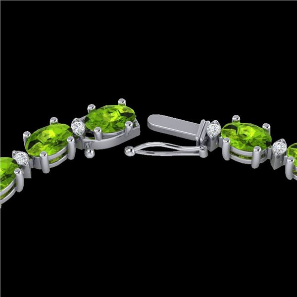 61.85 ctw Peridot & VS/SI Certified Diamond Necklace GOLD 10k White Gold - REF-395Y8X