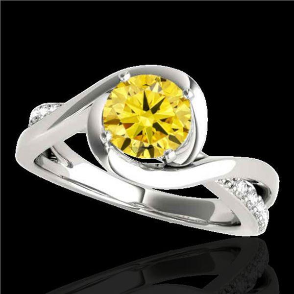 1.15 ctw Certified SI/I Fancy Intense Yellow Diamond Ring 10k White Gold - REF-182X8A