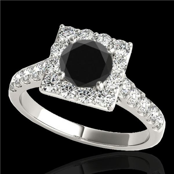 2.5 ctw Certified VS Black Diamond Solitaire Halo Ring 10k White Gold - REF-84A8N