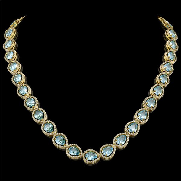 41.6 ctw Aquamarine & Diamond Micro Pave Halo Necklace 10k Yellow Gold - REF-896G4W