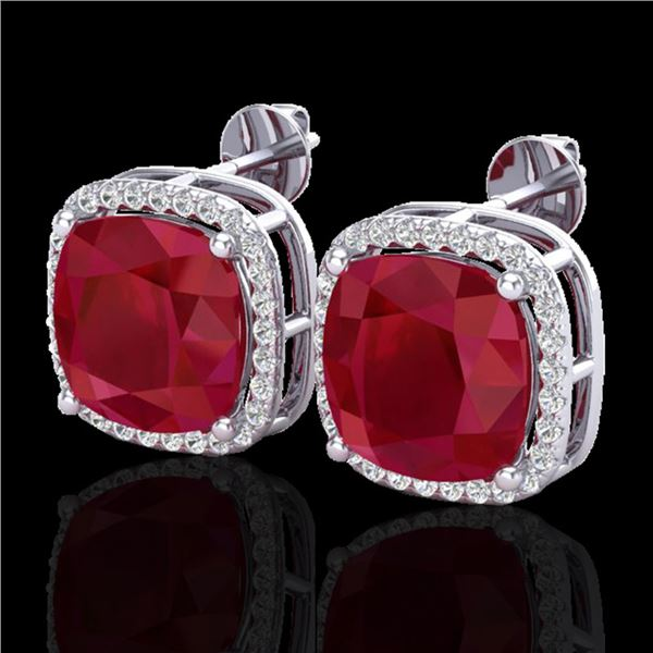 12 ctw Ruby & Micro Pave Halo VS/SI Diamond Earrings 18k White Gold - REF-136Y4X