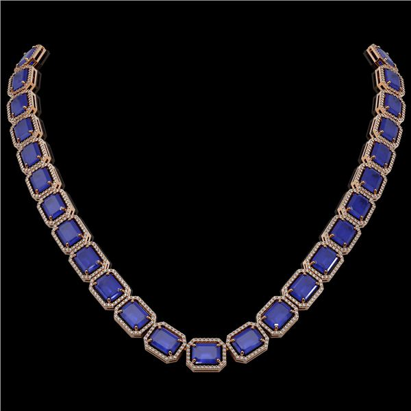 84.94 ctw Sapphire & Diamond Micro Pave Halo Necklace 10k Rose Gold - REF-859W5H