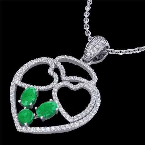 3 ctw Emerald & Micro Pave Designer Heart Necklace 14k White Gold - REF-134R5K