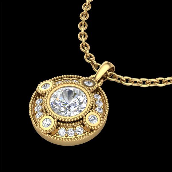 1.01 ctw VS/SI Diamond Solitaire Art Deco Necklace 18k Yellow Gold - REF-221W8H