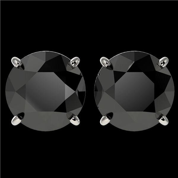 4 ctw Fancy Black Diamond Solitaire Stud Earrings 10k White Gold - REF-68X8A