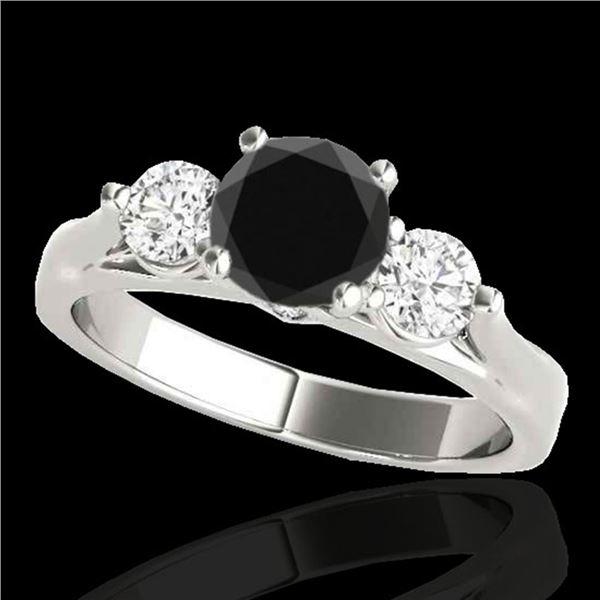 1.50 ctw Certified VS Black Diamond 3 Stone Ring 10k White Gold - REF-69X3A