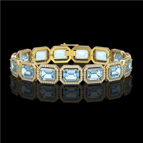 35.61 ctw Sky Topaz & Diamond Micro Pave Halo Bracelet 10k Yellow Gold - REF-323X6A