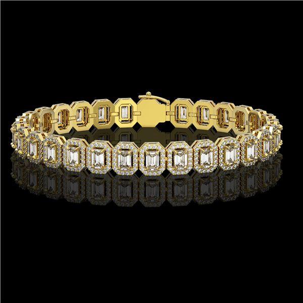 11.52 ctw Emerald Cut Diamond Micro Pave Bracelet 18K Yellow Gold - REF-1370M9G