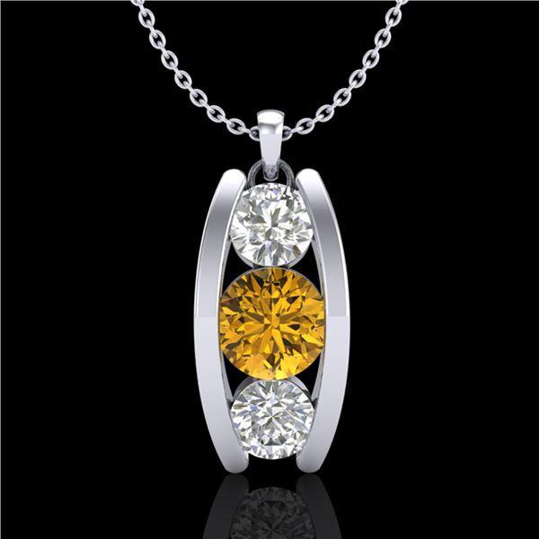 1.07 ctw Intense Fancy Yellow Diamond Art Deco Necklace 18k White Gold - REF-143H6R