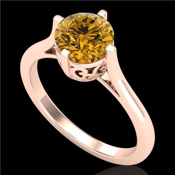 1.25 ctw Intense Fancy Yellow Diamond Art Deco Ring 18k Rose Gold - REF-345R5K