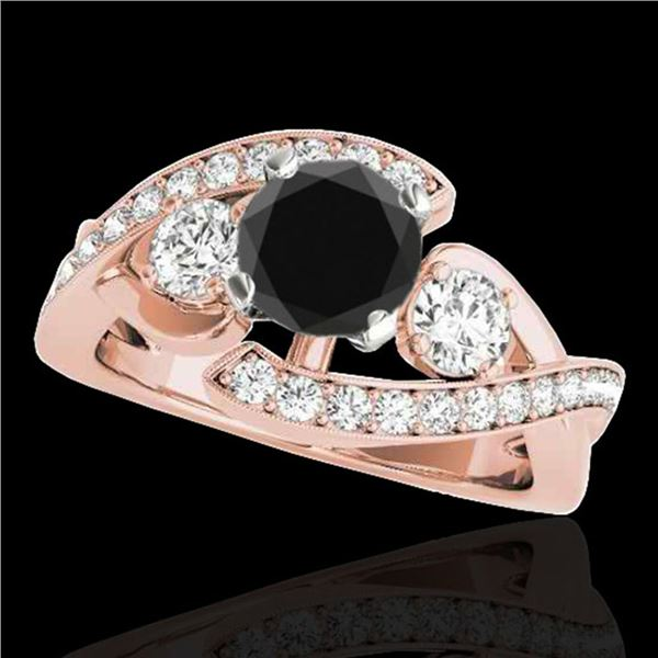 1.76 ctw Certified VS Black Diamond Bypass Solitaire Ring 10k Rose Gold - REF-81X5A
