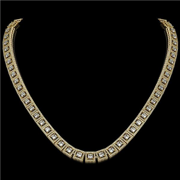24.4 ctw Princess Cut Diamond Micro Pave Necklace 18K Yellow Gold - REF-2083H2R