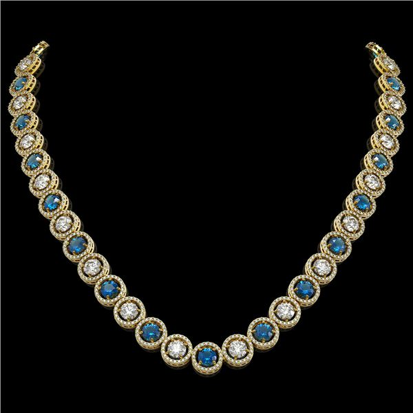 31.18 ctw Blue & Diamond Micro Pave Necklace 18K Yellow Gold - REF-2904Y4X