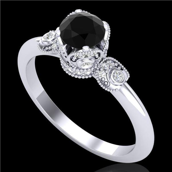 1 ctw Fancy Black Diamond Engagment Art Deco Ring 18k White Gold - REF-80W2H