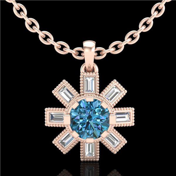 1.33 ctw Fancy Intense Blue Diamond Art Deco Necklace 18k Rose Gold - REF-161G8W