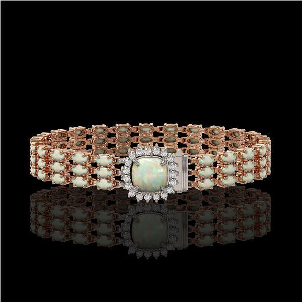 24.2 ctw Opal & Diamond Bracelet 14K Rose Gold - REF-342W9H