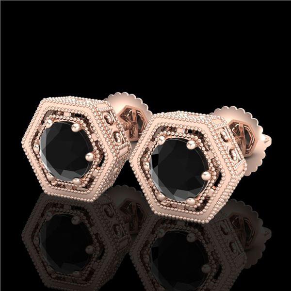 1.07 ctw Fancy Black Diamond Art Deco Stud Earrings 18k Rose Gold - REF-73R3K