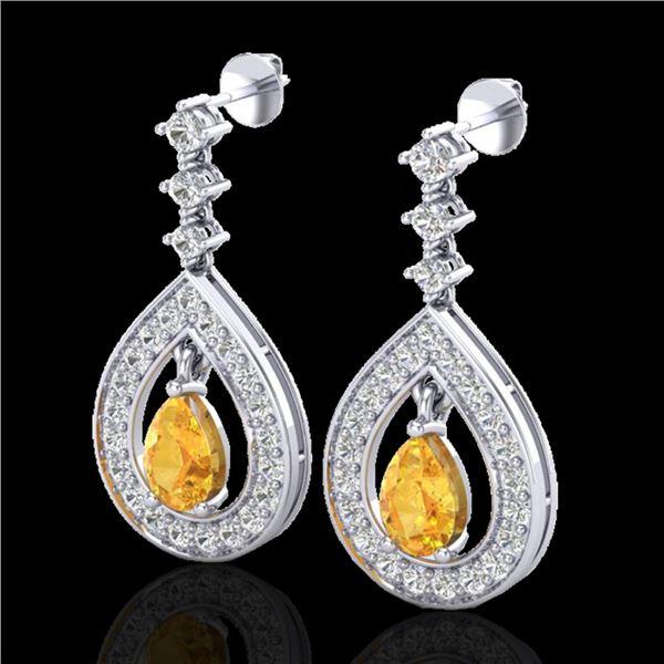 2.25 ctw Citrine & Micro Pave VS/SI Diamond Earrings 14k White Gold - REF-99G8W