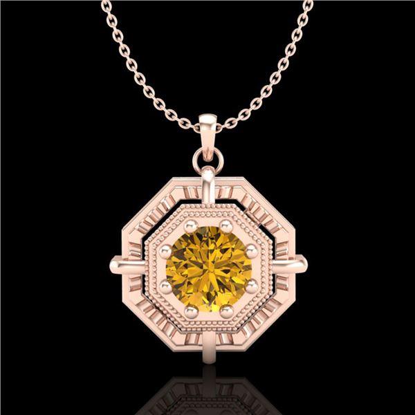 0.75 ctw Intense Fancy Yellow Diamond Art Deco Necklace 18k Rose Gold - REF-153W6H
