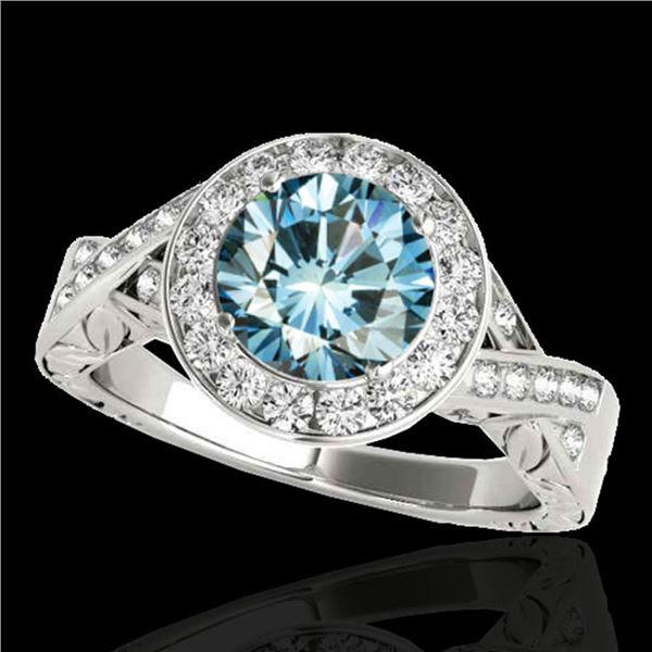 1.75 ctw SI Certified Fancy Blue Diamond Halo Ring 10k White Gold - REF-218F2M
